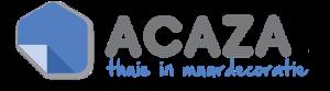 Logo Acaza met slogan Thuis In Muurdecoratie