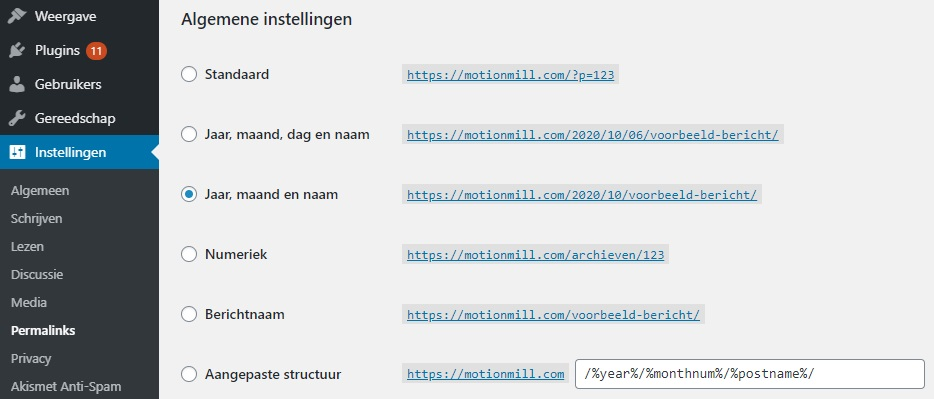 Tips voor WordPress-websites - Permalinks instellen