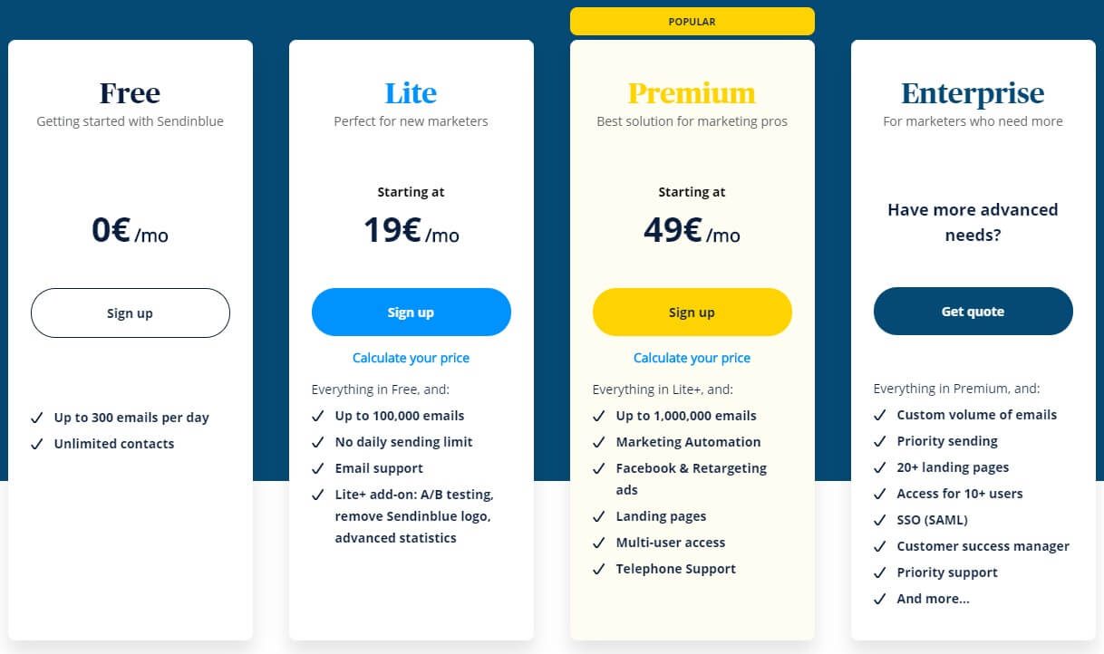 Prijzen en pakketten van Sendinblue e-mailmarketingsoftware