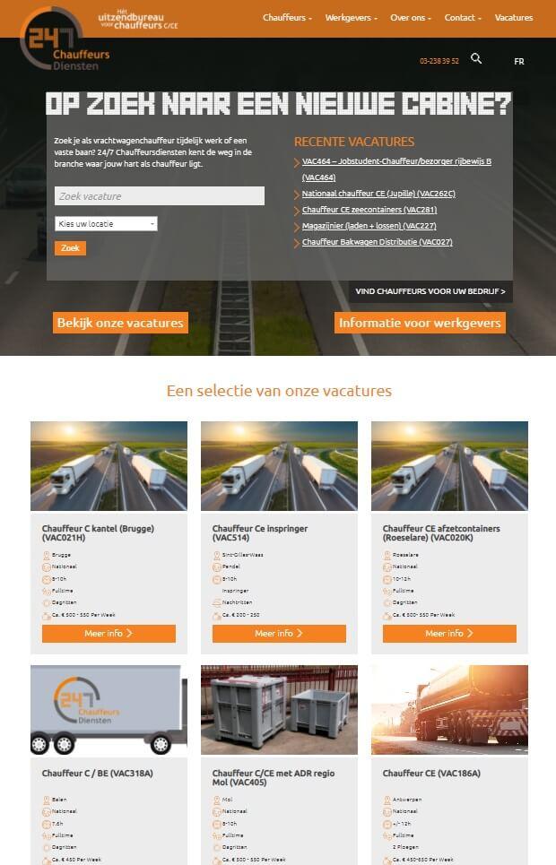Website uitzendbureau met koppeling vacatures