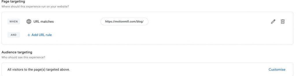 page-targeting-google-optimize-marketingbureau-antwerpen