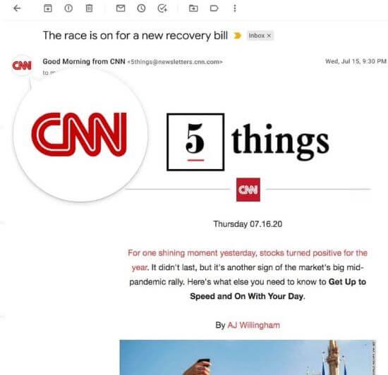 Voorbeeld BIMI e-mailmarketing
