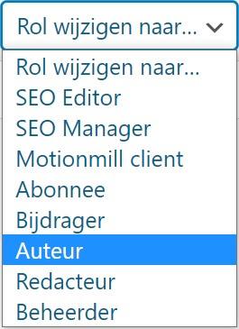WordPress-website Gebruikers rol wijzigen