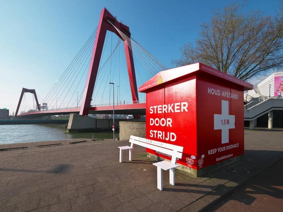 Social distancing bankje Rotterdam