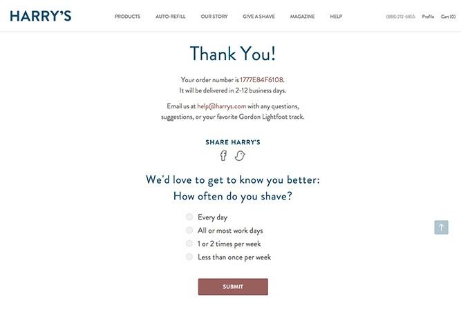 Feedback bedankpagina webshop