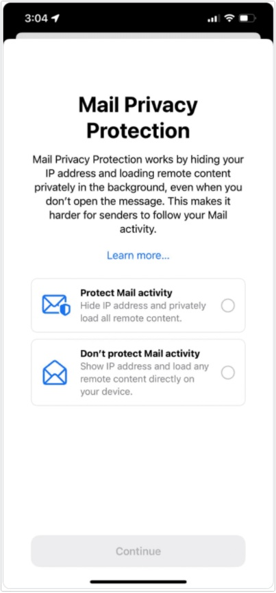 Apple mail app privacy protection