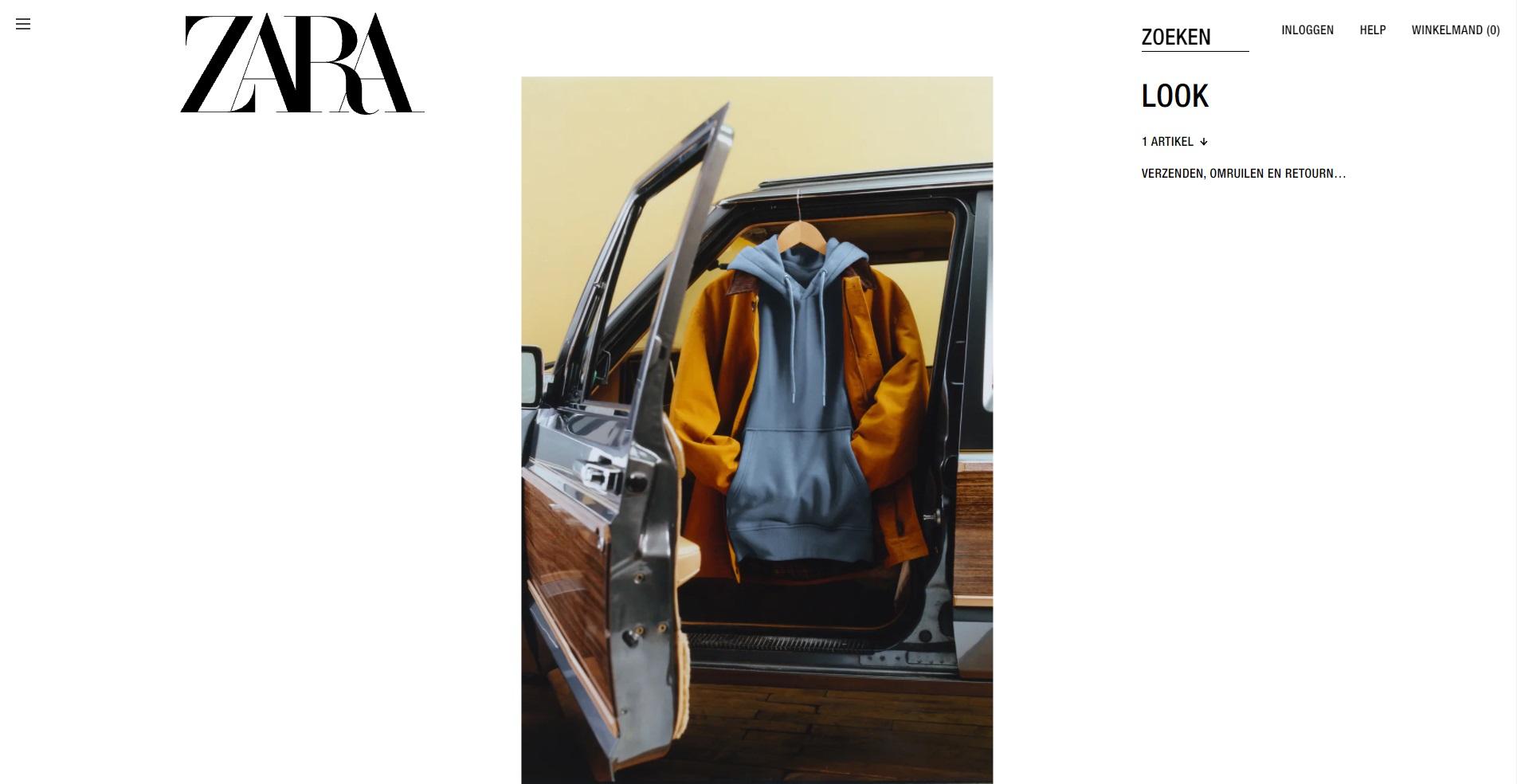 Zara webshop productdetailpagina